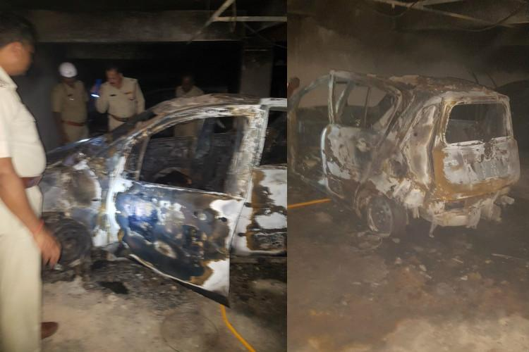 Car mysteriously catches fire in Bengaluru Woman 4-yr-old son charred to death