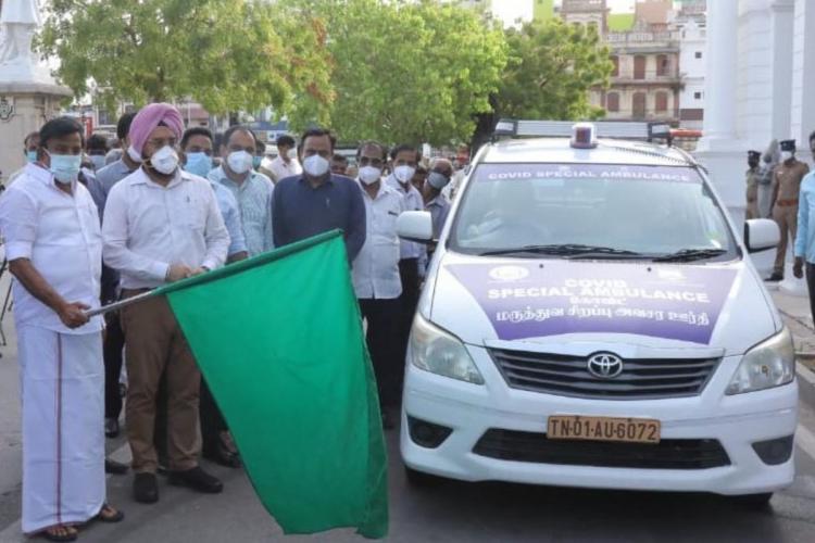Minister KN Nehru inaugurating the car ambulance service in Chennai