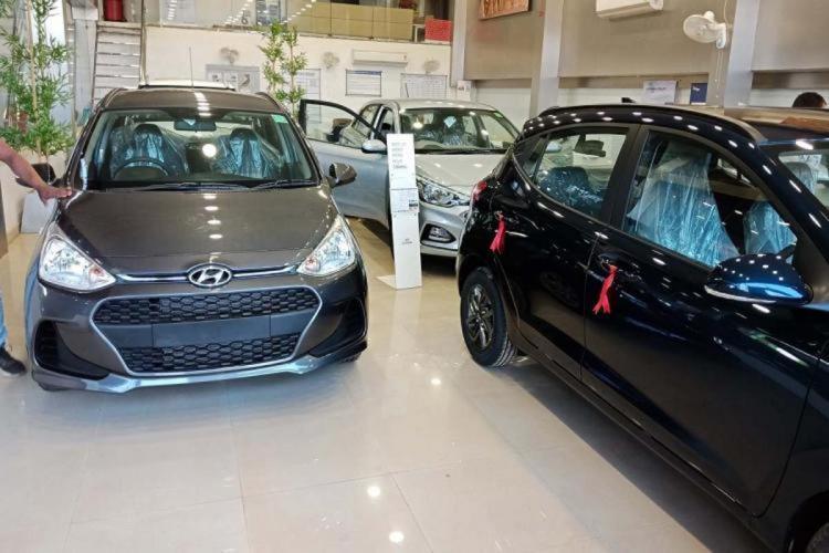 Cars in a Hyundai car showroom