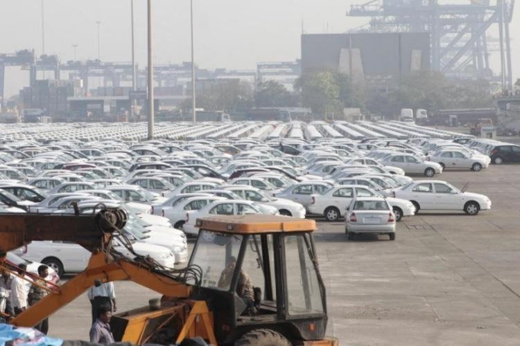 Cars parked for shipment