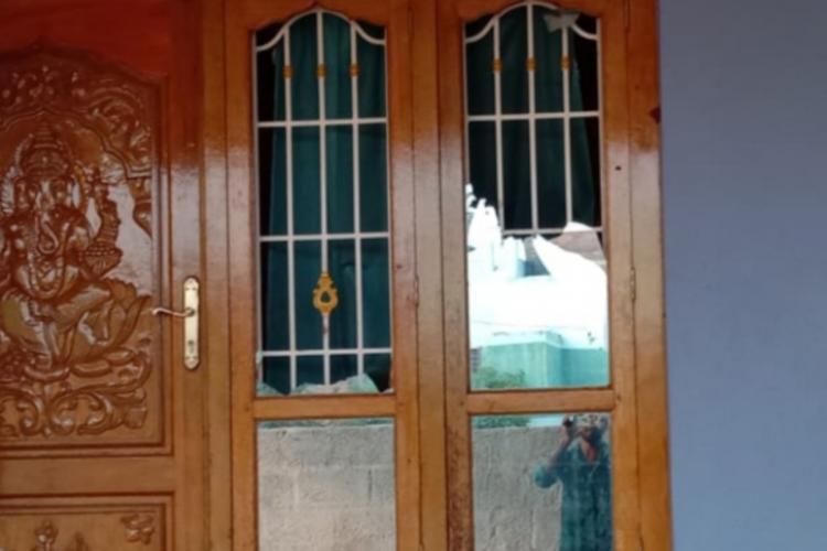 The glass windows damaged in the violence in Koodankulam of Tirunelveli