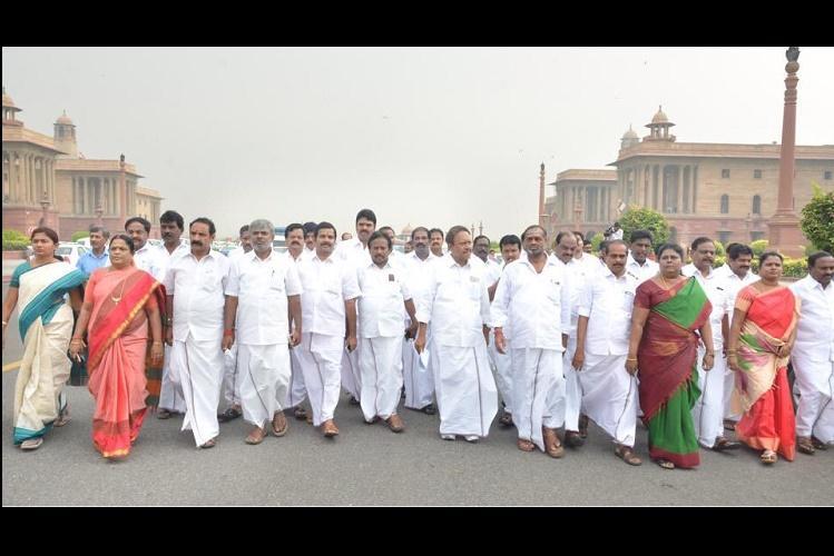 AIADMK MPs march to PMO demand a Cauvery board
