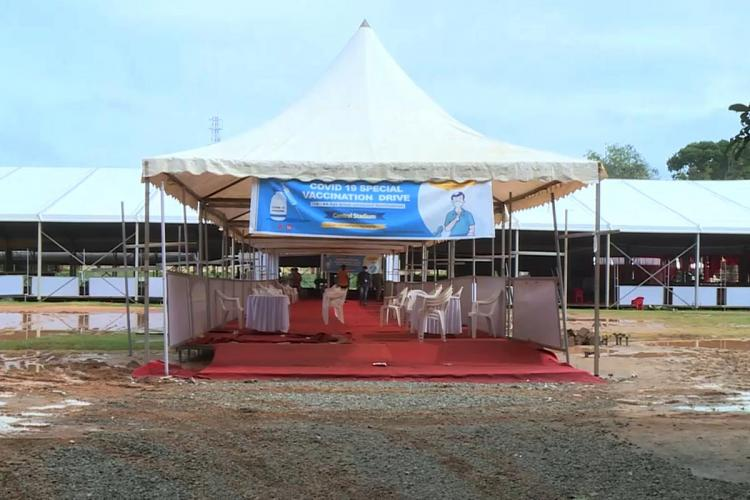 A pandal at Central Stadium in Thiruvananthapuram with a banner saying Vaccination Drive