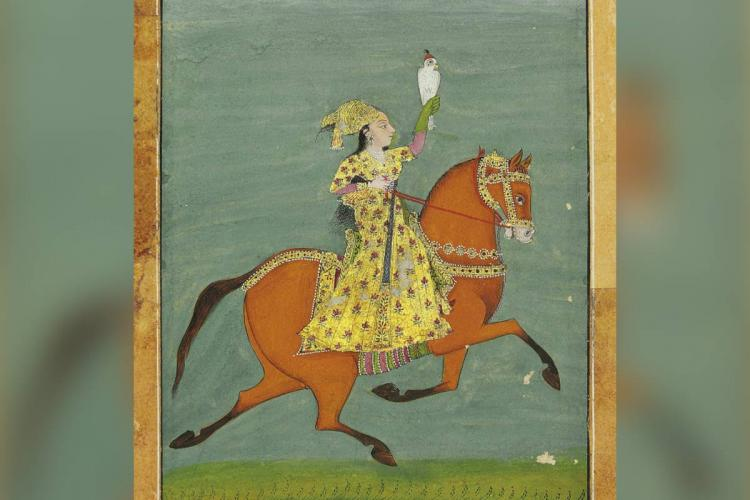 Portrait of Chand Bibi riding a horse while hawking