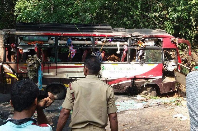 Private bus falls off cliff in Karnataka two dead several injured
