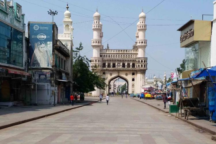 Road leading to the Charminar during the lockdown in Hyderabad in March 2020