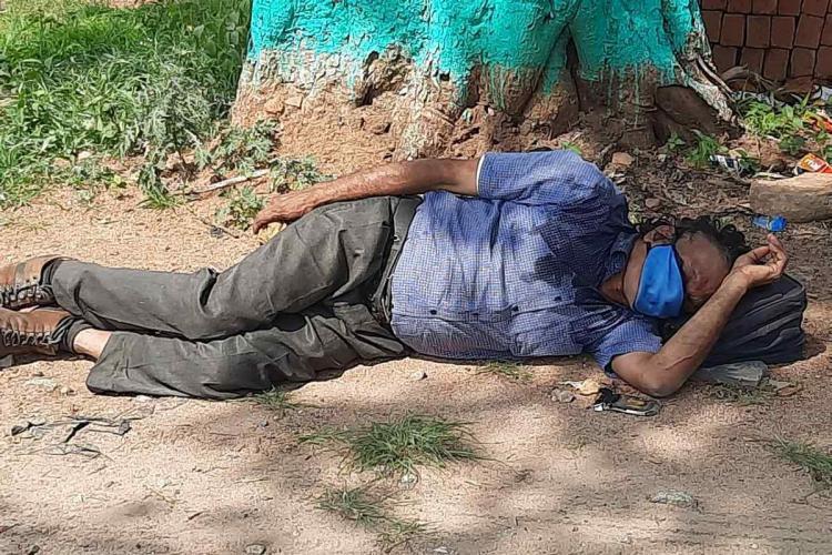 A man lies down next to a tree