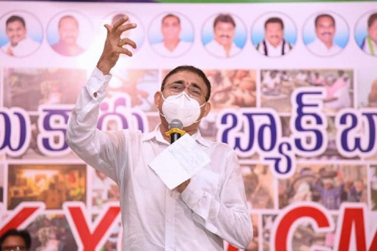 File photo of Chelluboyina Venugopala Krishna speaking at an event in Andhra