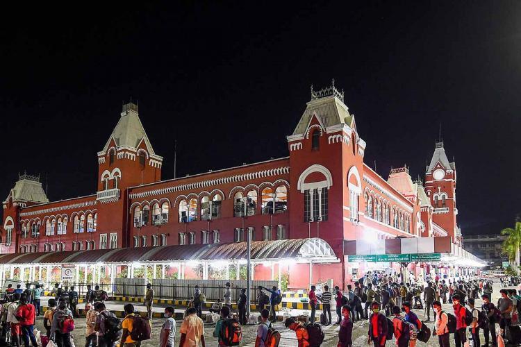 Chennai central railway station captured during night