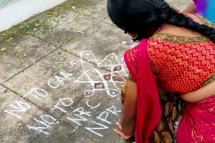 7 people detained in Chennai for drawing anti-CAA kolams on the road