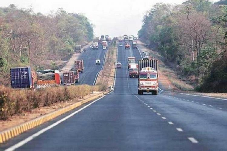 A lorry travelling on a highway in Tamil Nadu.