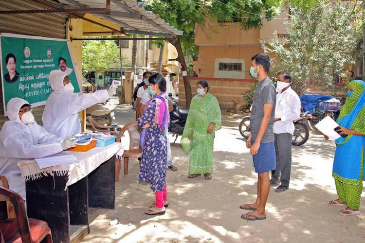 People getting tested for coronavirus in Chennai