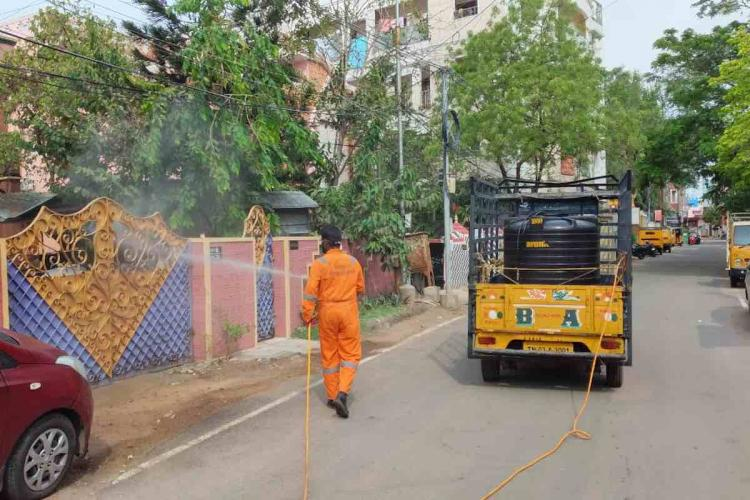 A sanitary worker undertaking containment efforts in Chennai