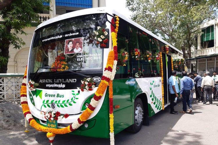 TN CM EPS launches first electric bus in Chennai