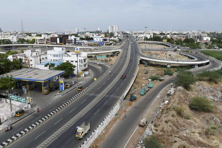 Aerial view of a flyover in Chennai that's deserted due to lockdown