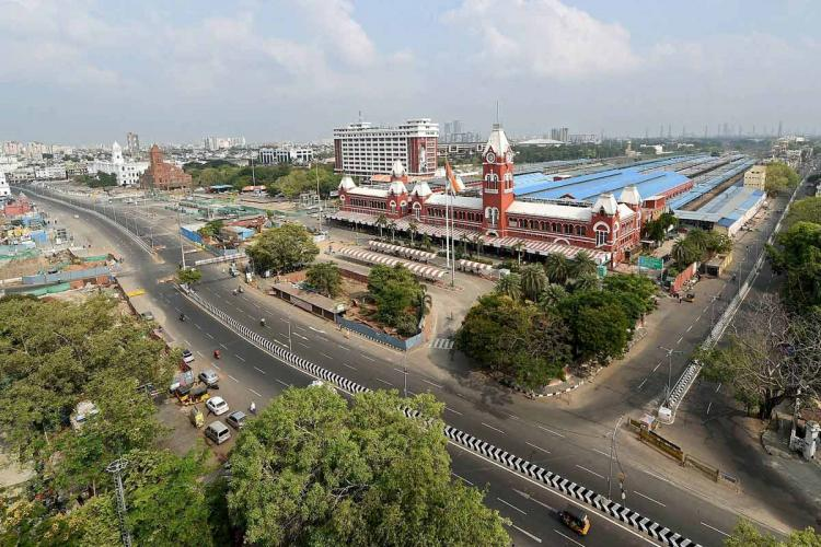 An aerial view of Chennai on the day of Sunday lockdown