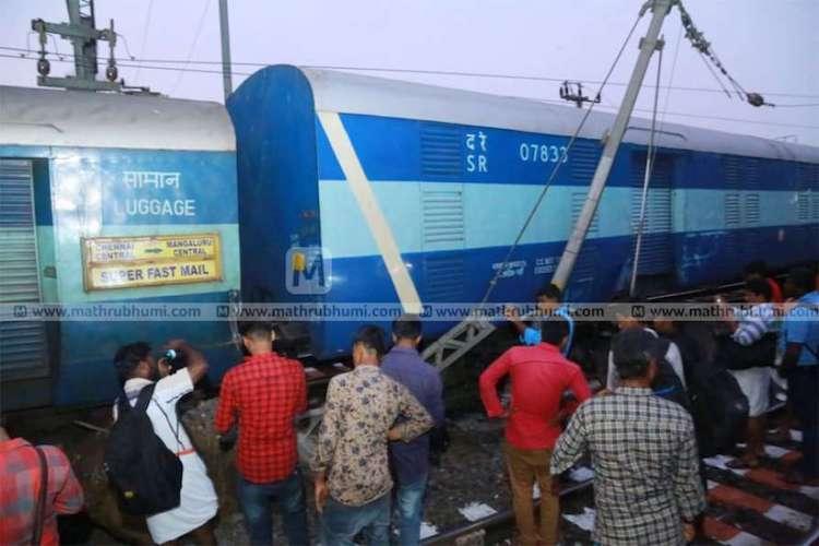 Chennai-Mangalore train derails at Shoranur in Kerala no casualties