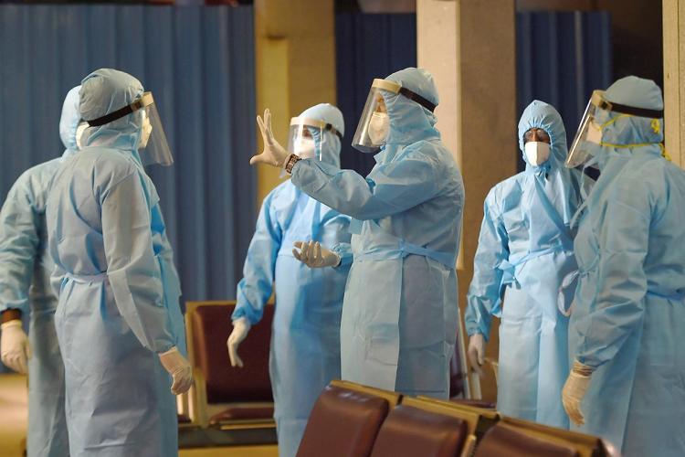 Health workers amid the coronavirus pandemic in India