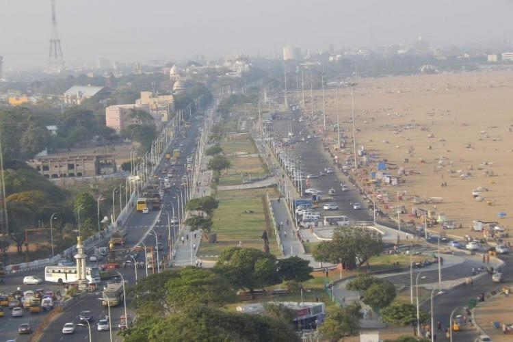 A representative image of Chennai on the road near Marina beach