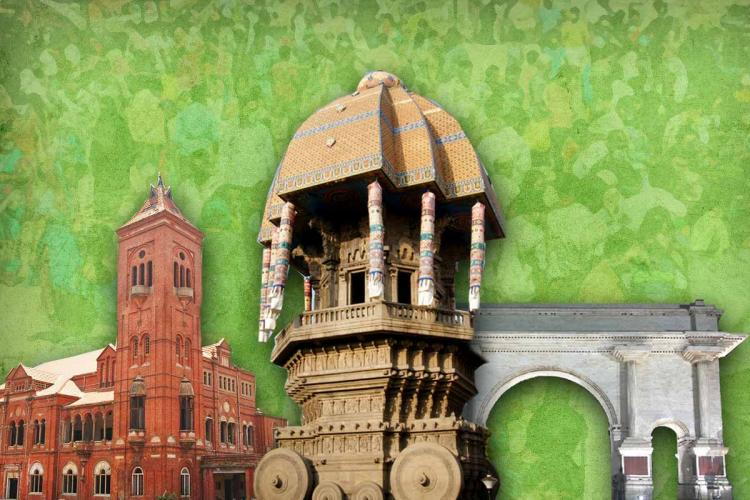 Chennai Victoria hall Valluvar kottam and Anna square in a stylised picture