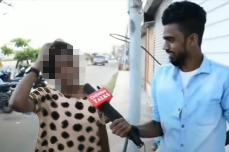 Man on left interviews woman