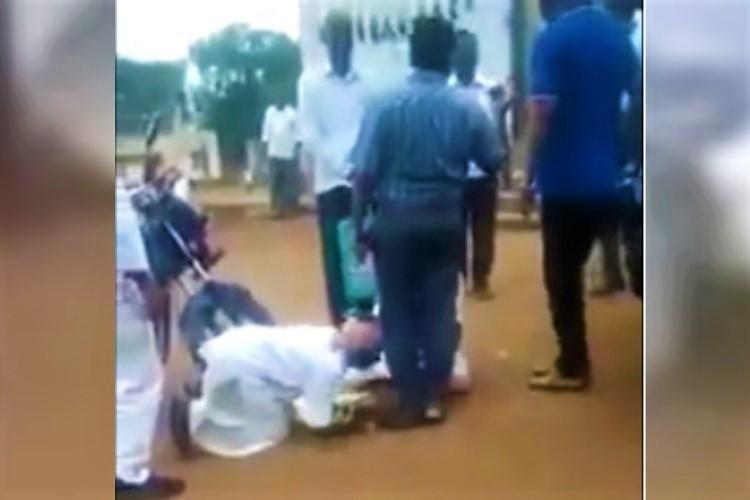 Telangana farmers fall at officials feet over land issue video goes viral