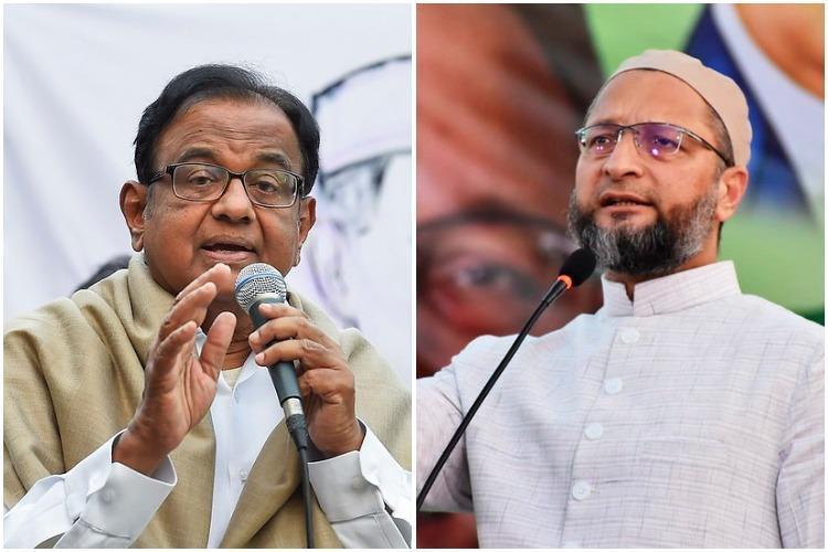 Owaisi Chidambaram condemn Delhi violence urge government to restore peace
