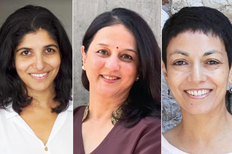 Publisher Chiki Sarkar and writers Rohini Nilekani and Devika Cariappa collage