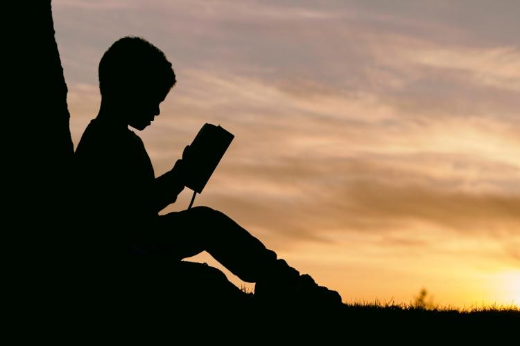 Representative image of a Silhouette of a boy reading