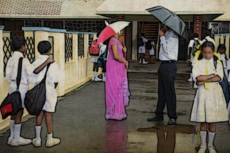 A posterised image of a rainy day at a school where children and parents are seen with umbrellas