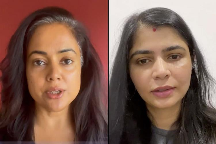 Actor Sameera Reddy on the left and Chinmayee Sripaada on the right