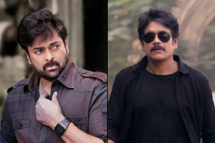 Actor Chiranjeevi on the left and actor Nagarjunas still from the movie Wild Dog on the right