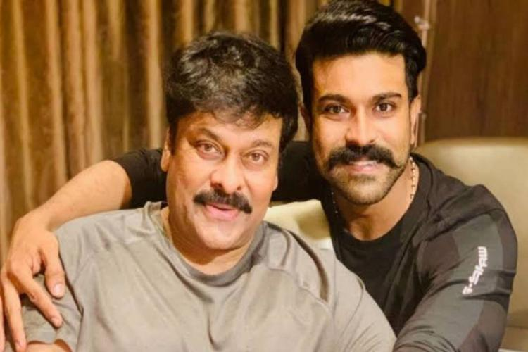 Chiranjeevi on the left and Ram Charan on the right