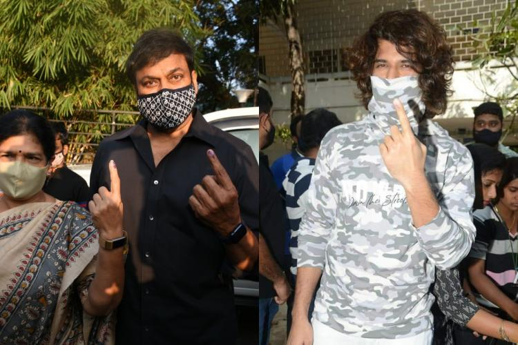 Chiranjeevi and Vijay Deverakonda showing their inked fingers after casting their vote