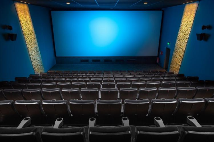 Cinema Hall with blue walls facing the silverscreen