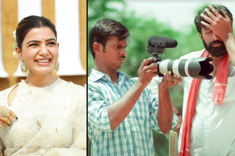 Actor Samantha Akkineni on the left and a poster from the Telugu film Cinema Bandi on the right