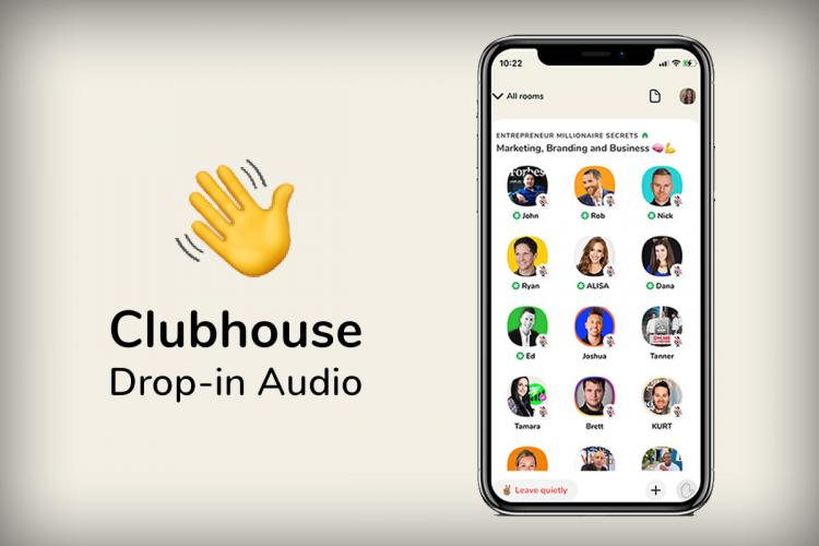 poster for Clubhouse app, with image of phone and emoji of waving hand