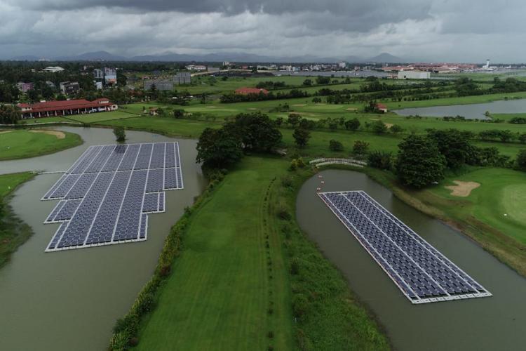 Floating solar power panels set up at Cochin International Airport Kerala