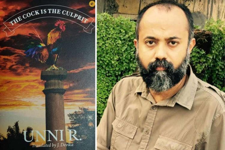A collage of Malayalam author Unni R and the cover of his book The Cock is the Culprit translated into English