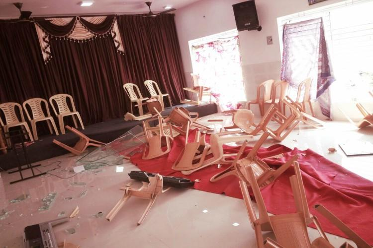 RSS members allegedly vandalise prayer hall in Coimbatore decked up for Christmas