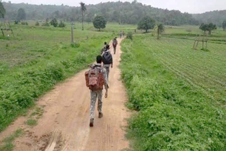 Telangana special police forces combing in Asifabad forests