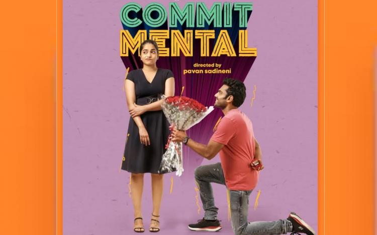 CommitMental webseries in which Punarnavi is seen wearing black dress and Udhbhav is seen wearing orange shirt with roses and a ring in his hand