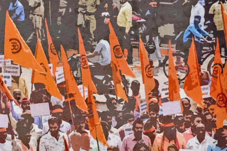 Members of a Hindutva group gathered together