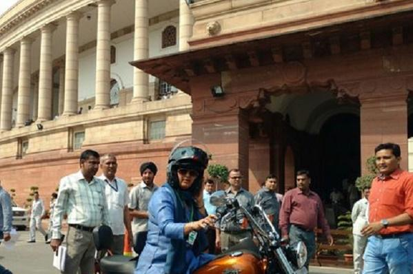 Womens Day Bihar MP rides to Parliament in style on her Harley-Davidson