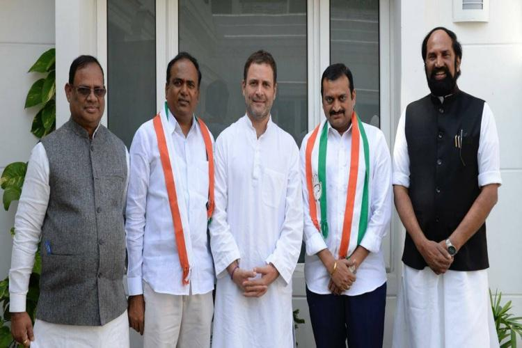 Telugu producer Bandla Ganesh TRS MLC Bhupathi Reddy join Congress