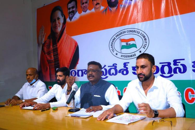 Congress leaders address press in Hyderabad at partys head quarters