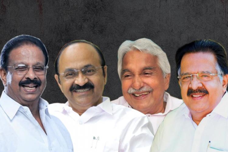Congress leaders (From left): K Sudhakaran, VD Satheesan, Oommen Chandy, Ramesh Chennithala
