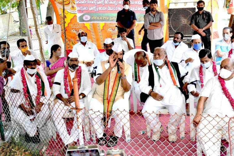 Congress BJP protest in Telangana over irrigation project proposed by Andhra