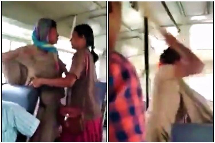 Video Telangana constable thrashes bus conductor who asked her to pay bus fare