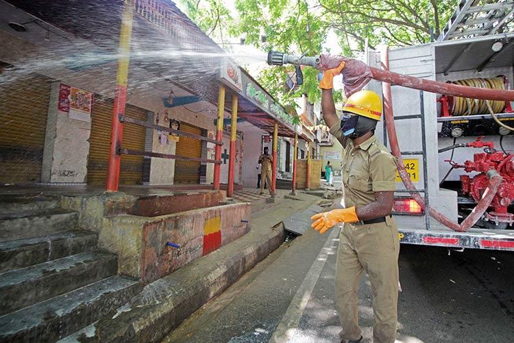 Sanitisation of the city amid lockdown